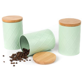 Salter COMBO-4811 Three Piece Embossed Round Kitchen Canisters for Tea, Coffee and Sugar, Mint Green