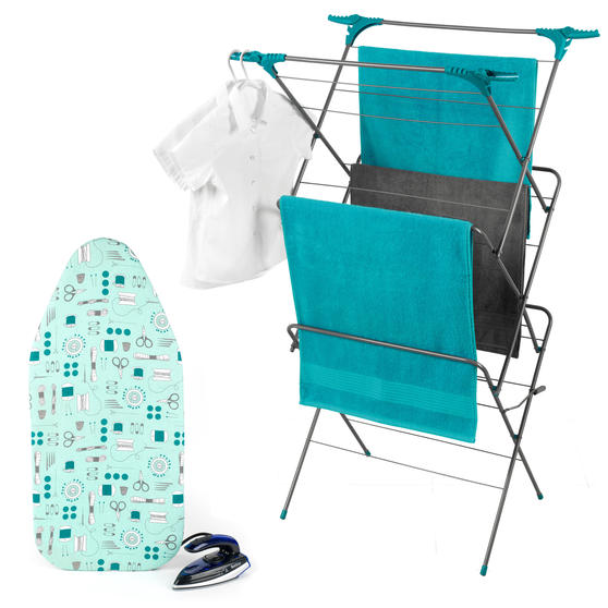 Beldray COMBO-4389 Dual Voltage Travel Iron with Table Top Ironing Board Set