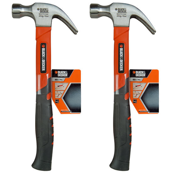 Black + Decker COMBO-4818 Soft Grip Claw Hammer, 450 g, Set of 2