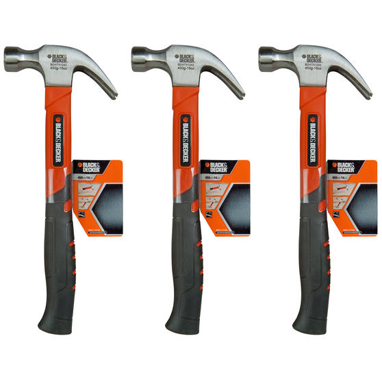 Black + Decker COMBO-4819 Soft Grip Claw Hammer, 450 g, Set of 3