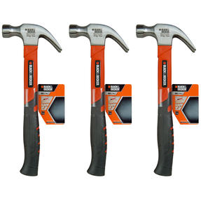 Black + Decker COMBO-4819 Soft Grip Claw Hammer, 450 g, Set of 3 Thumbnail 1