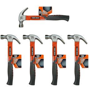 Black + Decker COMBO-4821 Soft Grip Claw Hammer, 450 g, Set of 5
