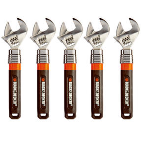 Black + Decker COMBO-4830 Extendable Adjustable Wrench, 250 mm, 10?, Set of 5