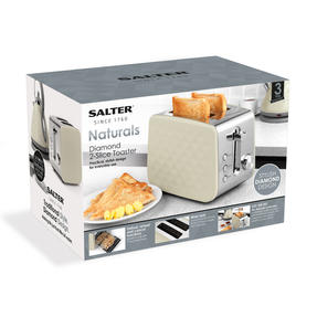 Salter EK2635CREAM Two-Slice Diamond Toaster with Variable Browning Control, 850 Thumbnail 6
