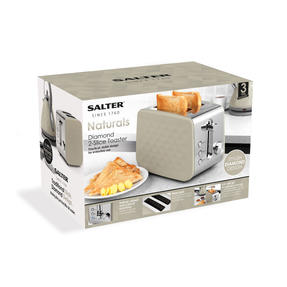 Salter EK2635GREY Two-Slice Diamond Toaster with Variable Browning Control, 850 W, Grey Thumbnail 5