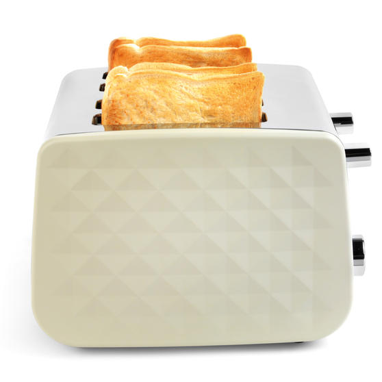 Salter EK3509CREAM 4-Slice Diamond Toaster with Variable Browning, 1850 W, Cream