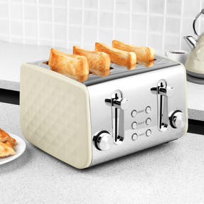 Salter EK3509CREAM 4-Slice Diamond Toaster with Variable Browning, 1850 W, Cream Thumbnail 4
