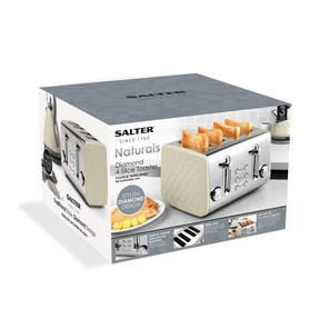 Salter EK3509CREAM Four-Slice Naturals Toaster with Variable Browning Control, 1850 W, Cream Thumbnail 6