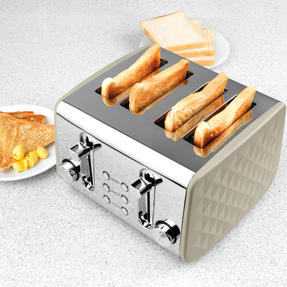 Salter EK3509GREY Four-Slice Diamond Toaster with Variable Browning Control, 1850 W, Grey Thumbnail 3