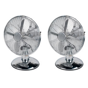 Beldray COMBO-4870 Three-Speed 4-Blade Home Office Desk Table Stainless Steel Fan, 10?, Set of 2