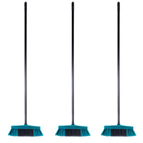 Beldray COMBO-4875 Tulip Cleaning Floor Brush Broom, Turquoise, Set of 3