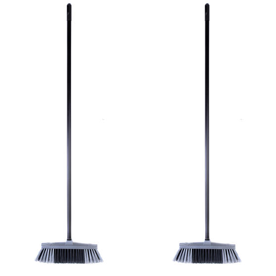 Beldray COMBO-4879 Tulip Cleaning Floor Brush Broom, Silver, Set of 2 Thumbnail 1