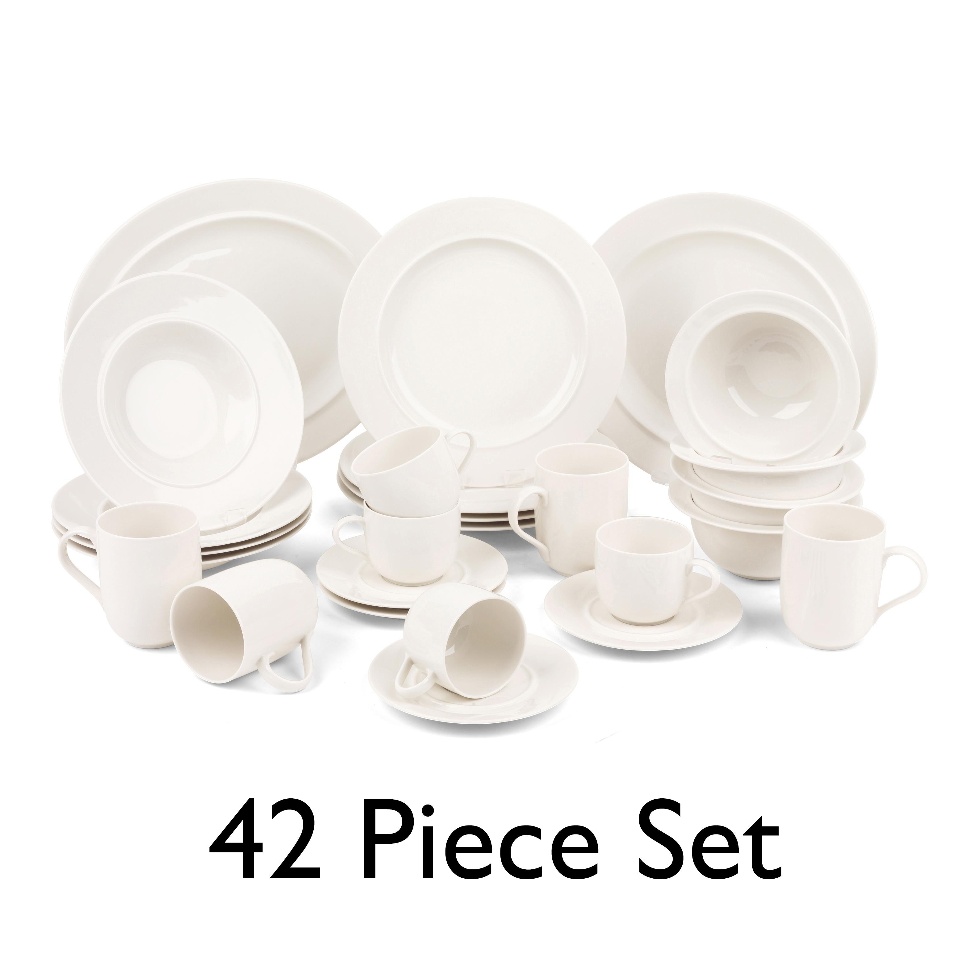 Alessi COMBO-3439 La Bella Tavola Porcelain Dinnerware Set, 42 Piece,  Service for 8 | Dishwasher Safe | For Domestic & Commercial Use
