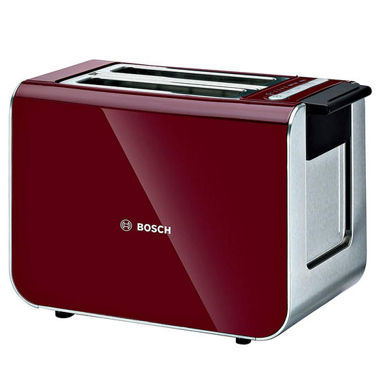 Bosch TAT86104GB 2-Slice Styline Toaster, Cranberry Red