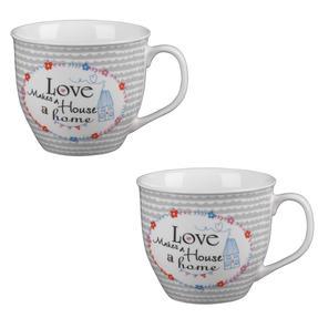 Cambridge COMBO-4950 Oxford Love Makes A Home Fine China Mug, Set of 2