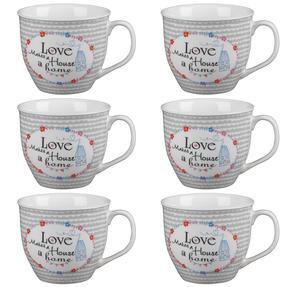 Cambridge COMBO-4951 Oxford Love Makes A Home Fine China Mug, Set of 6