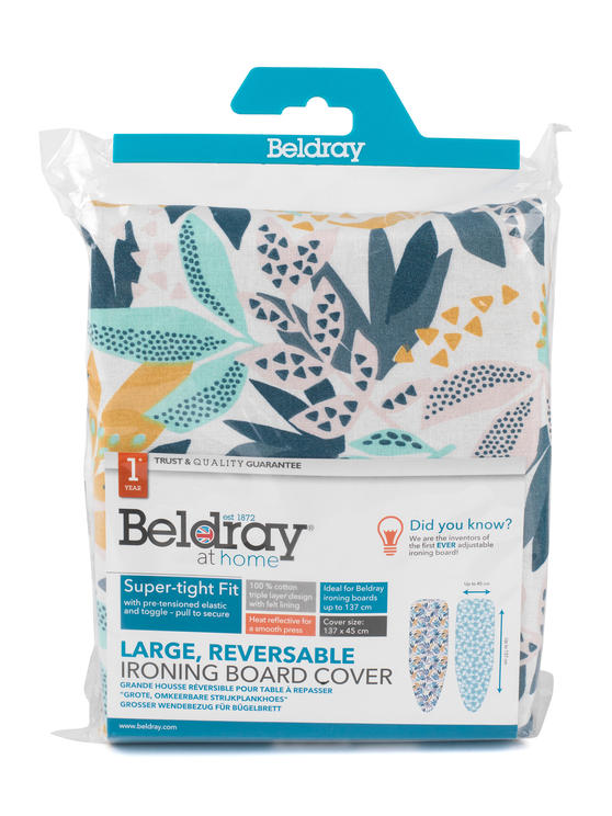 Beldray Large Reversible Ironing Board Replacement Cover, 137 x 45 cm, Ingrid Leaf Print Thumbnail 5