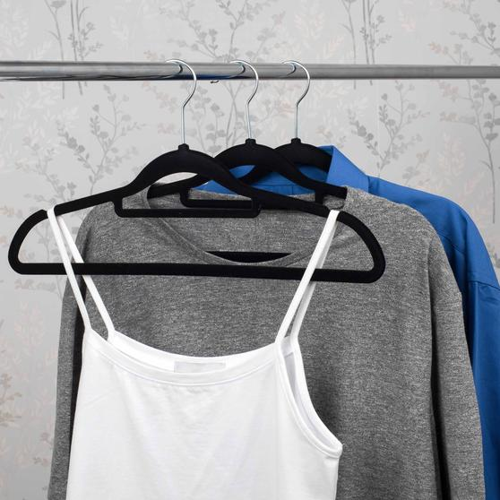 Beldray 10 Pack Premium Velvet Clothes Hangers, Black Main Image 4