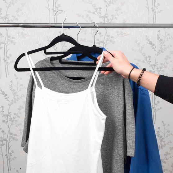 Beldray 10 Pack Premium Velvet Clothes Hangers, Black Main Image 6