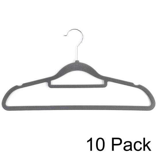 Beldray LA063717GRYEU 10 Pack Premium Velvet Clothes Hangers, Grey
