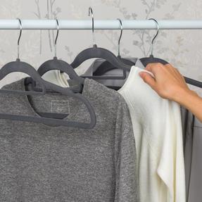 Beldray LA063717GRYEU 10 Pack Premium Velvet Clothes Hangers, Grey Thumbnail 4