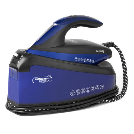 Beldray BEL0905 Steam Station Optimal Temperature Iron with Ceramic Soleplate, 1.5 L, 3000 W, Blue/Black