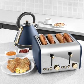 Salter EK3352NG 4-Slice Toaster, Navy/Gold Thumbnail 6