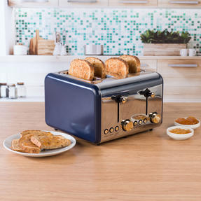 Salter EK3352NG 4-Slice Toaster, Navy/Gold Thumbnail 8