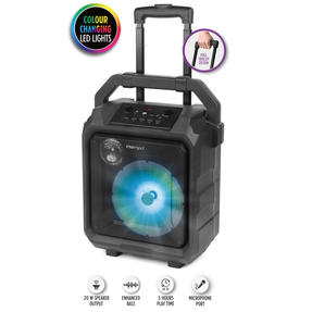 Intempo Tempo Tailgate Speaker with Microphone Port and LED Lights, 20 W, Black