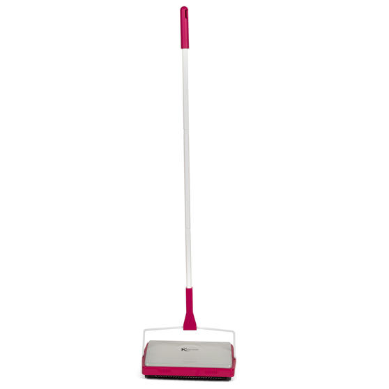 Three-Brush Carpet Sweeper, 1.1 m, White/Pink