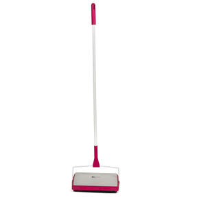 Kleeneze KL062451EU Three-Brush Carpet Sweeper, 1.1 m, White/Pink