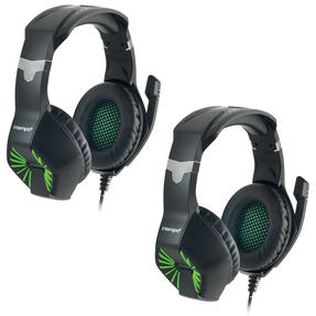 Intempo COMBO-4987 Interactive Gaming Headset Earphones with Microphone, Noise Isolating, for Xbox, PlayStation, PC or TV, Green/Black, Set of 2