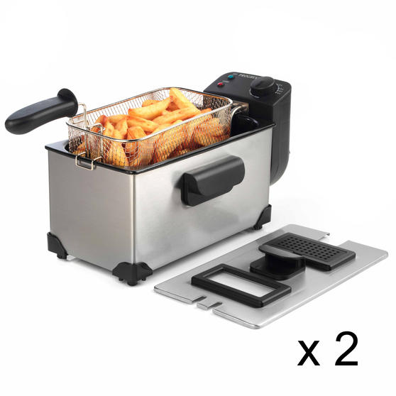 Progress COMBO-5004 Large Deep Fat Fryer With Removable Cooking Basket, 3 L, 2200 W, Set of 2