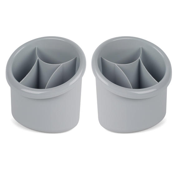 Beldray COMBO-5007 Plastic 2-in-1 Cutlery Drainer and Holder, Grey, Set of 2