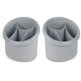 Beldray COMBO-5007 Plastic 2-in-1 Cutlery Drainer and Holder, Grey, Set of 2 Thumbnail 1