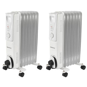 Beldray COMBO-5012 Portable 7 Fin Oil-Filled Radiator, 1500 W, White, Set of 2