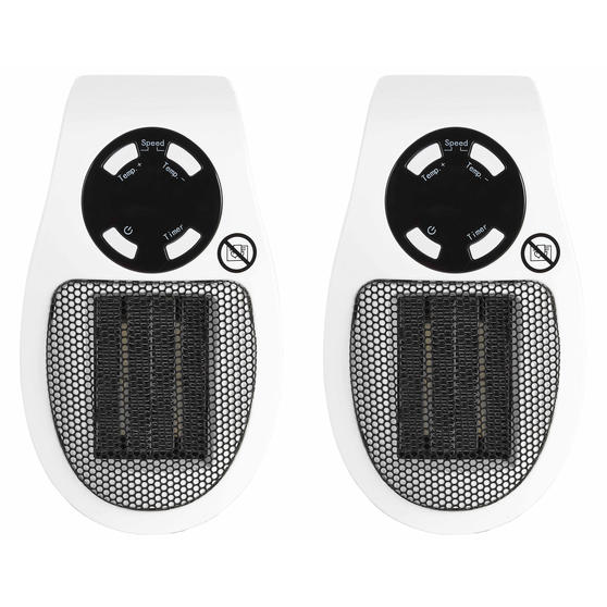 Beldray COMBO-5014 Compact Plug-in Heater, 450W, White, Set of 2