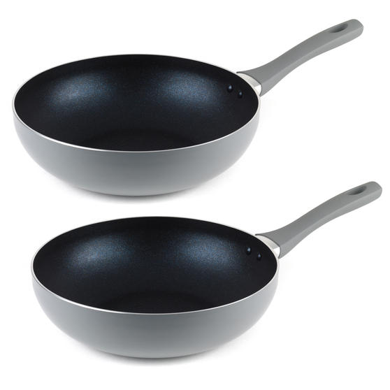 Salter COMBO-5020 Crystalstone Collection Wok, 28cm, Grey, Set of 2