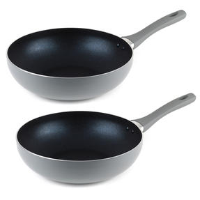 Salter COMBO-5020 Crystalstone Collection Wok, 28cm, Grey, Set of 2 Thumbnail 1