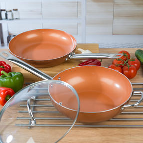 Salter COMBO-4758 28cm Copper Non-Stick Frying Pan and Wok Set Thumbnail 7