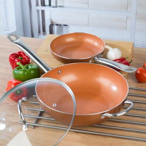 Salter COMBO-4759 20cm Copper Non-Stick Frying Pan and 28 cm Wok Thumbnail 6