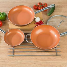 Salter COMBO-4760 20cm Copper Non-Stick Wok and Frying Pan Set, 20cm/28cm Thumbnail 8