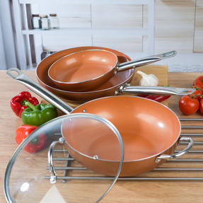 Salter COMBO-4760 20cm Copper Non-Stick Wok and Frying Pan Set, 20cm/28cm Thumbnail 9