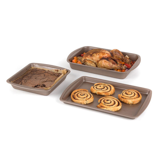 Salter COMBO-4367 Metallic Ovenware Set with Baking Tray, Roaster and Square Tin, 38 / 26 cm, Champagne