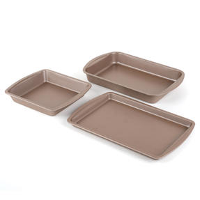 Salter COMBO-4367 Metallic Ovenware Set with Baking Tray, Roaster and Square Tin, 38 / 26 cm, Champagne Thumbnail 2