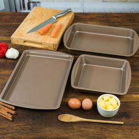 Salter COMBO-4367 Metallic Ovenware Set with Baking Tray, Roaster and Square Tin, 38 / 26 cm, Champagne Thumbnail 4
