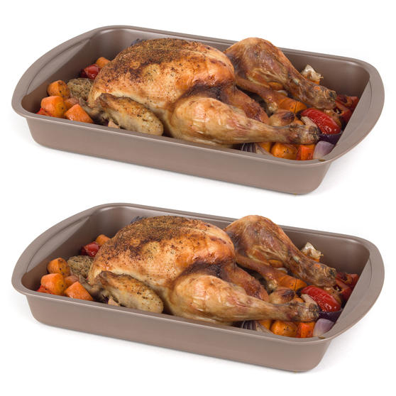 Salter COMBO-4369 Metallic Oven Roasting Tin Tray, 38 cm, Champagne, Set of 2