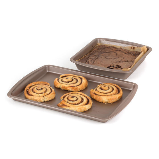 Salter COMBO-4371 Metallic Oven Baking Tray and Square Tin Pan Set, 38 / 26 cm, Champagne