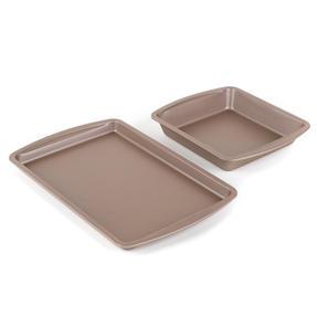 Salter COMBO-4371 Metallic Oven Baking Tray and Square Tin Pan Set, 38 / 26 cm, Champagne Thumbnail 2