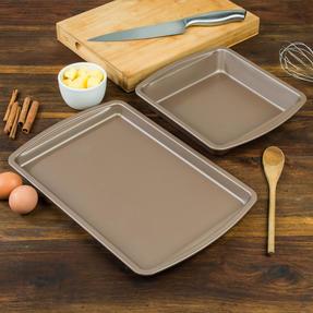 Salter COMBO-4371 Metallic Oven Baking Tray and Square Tin Pan Set, 38 / 26 cm, Champagne Thumbnail 4